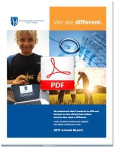 Printable PDF icon for the Autism Research Institute 2017 Annual Report